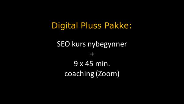 Digital Pluss i oransje overskrift og hvit tekst under hvor det står om SEO kurs og coaching via Zoom. Bakgrunnen er sort.