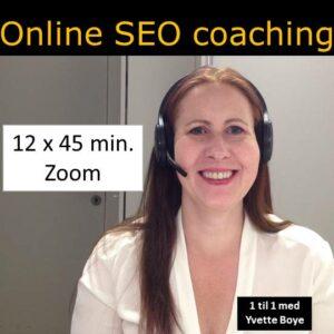 SEO coach som gir SEO hjelp mens hun snakker via Zoom.