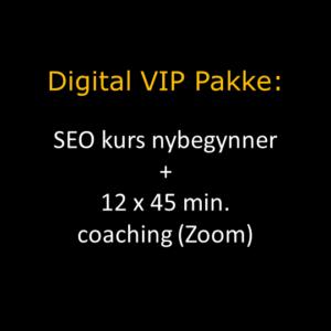 Digital VIP Pakke i oransje overskrift og hvit tekst under hvor det står om SEO kurs og coaching via Zoom. Bakgrunnen er sort.