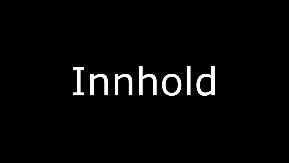 Innhold i hvit skrift på sort bakgrunn