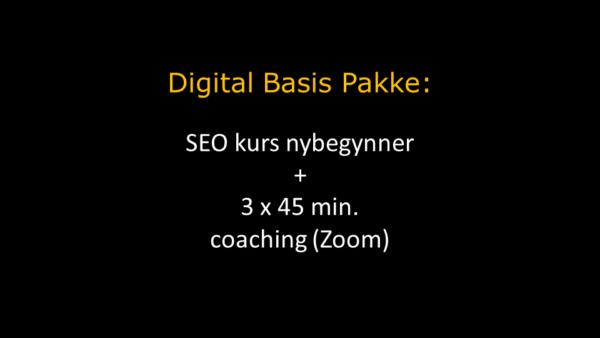 Digital Basis Pakke i oransje overskrift og hvit tekst under hvor det står om SEO kurs og coaching via Zoom. Bakgrunnen er sort.