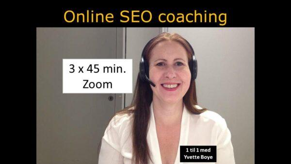 SEO konsulent Yvette Boye mens hun holder online SEO coaching og tekst med 3 ganger 45 min. Zoom.