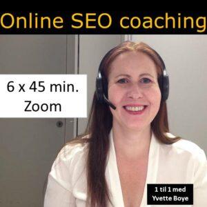 SEO konsulent Yvette Boye mens hun holder online SEO coaching og tekst med 6 ganger 45 min. Zoom.