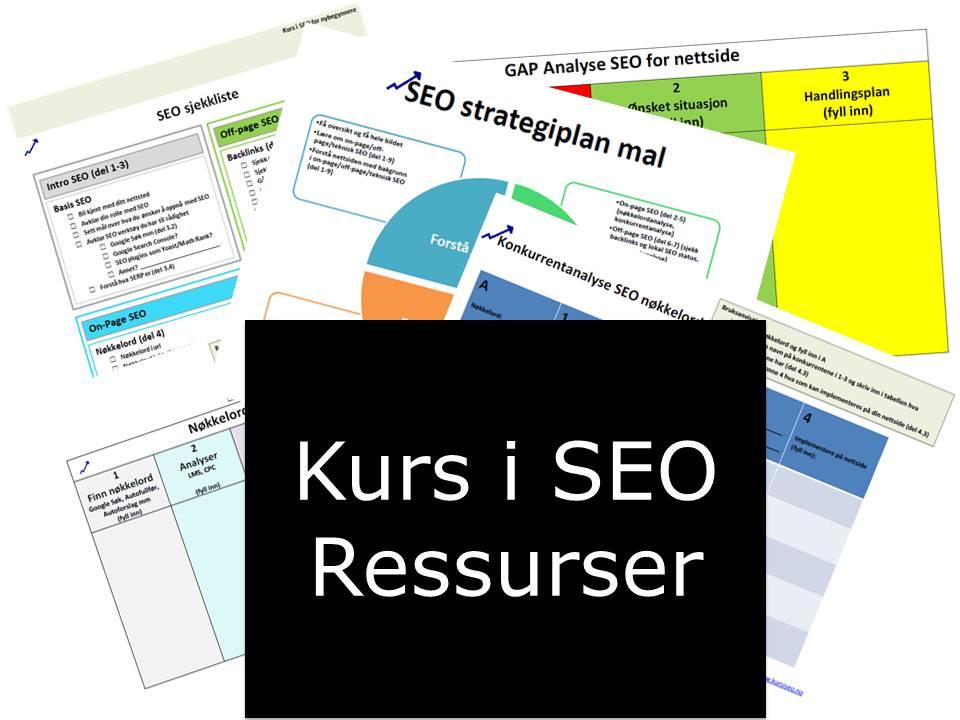 SEO strategi og andre SEO ressurser for Kurs i SEO for nybegynnere