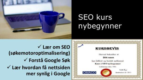 Collage med bilde av PC og blå kaffekopp, tekst med SEO kurs, og kursbevis.
